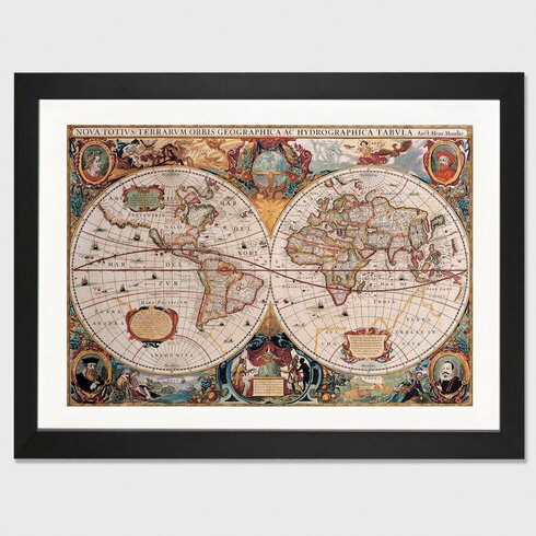East urban home antique world map by henricus hondius framed antique world map by henricus hondius framed graphic art gumiabroncs Image collections