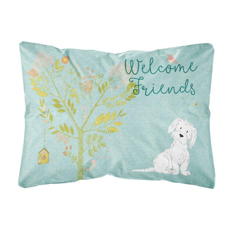 Winston Porter Lablanc Welcome Friends Maltese Indoor Outdoor Throw Pillow Wayfair