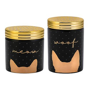 Woof and Meow Ceramic 2 Piece Pet Treat Jar Set