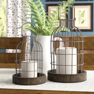 Gracie Oaks Donna 2 Piece Metal/Wood Cloche Lantern Set