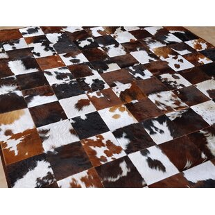 Find Beech Patchwork Hand-Woven Cowhide Brown/Black Area Rug By Foundry Select