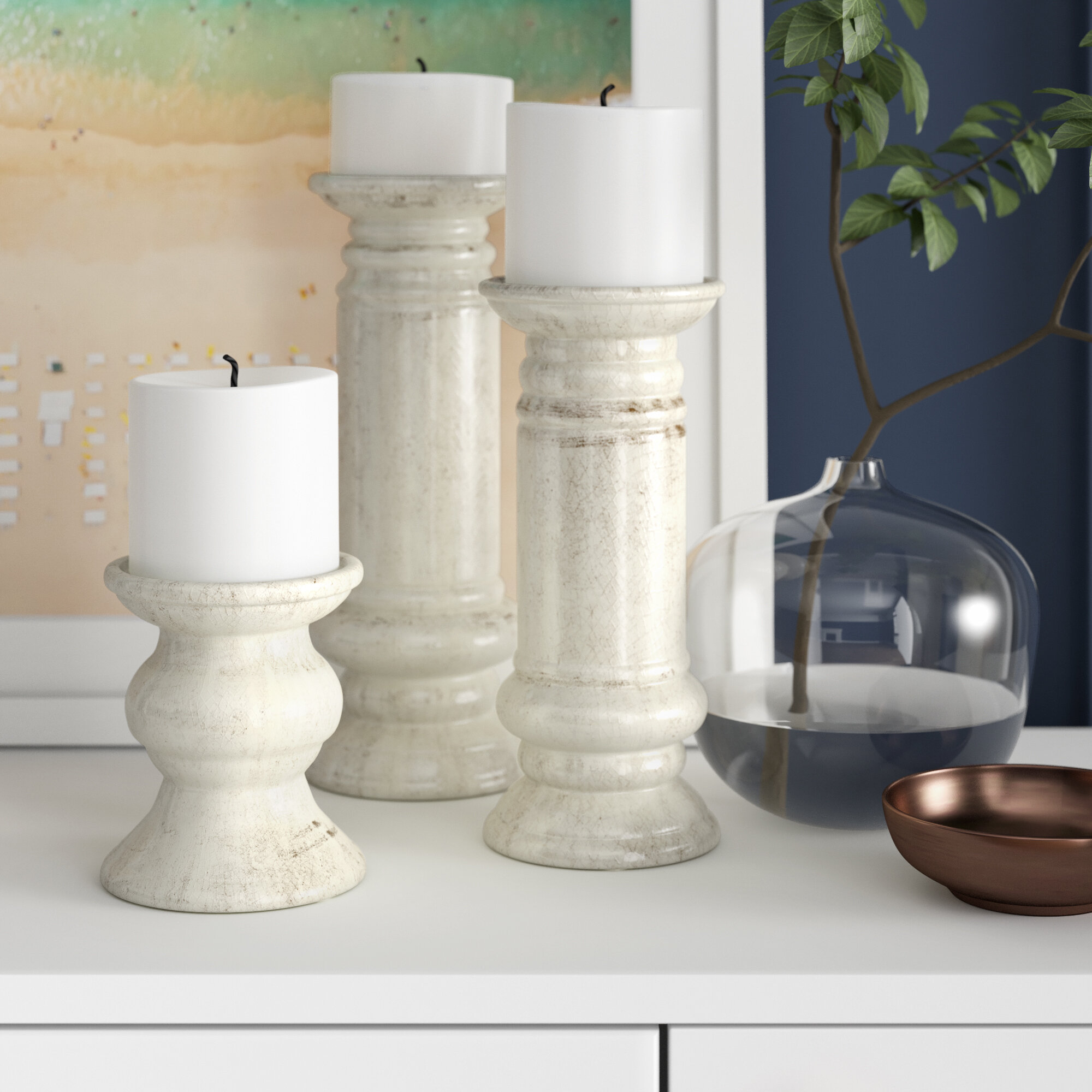 White Candle Holders You Ll Love In 2021 Wayfair