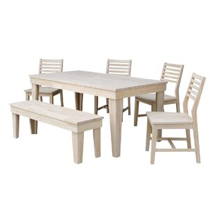 Theodosia 6 Piece Solid Wood Dining Set Highland Dunes