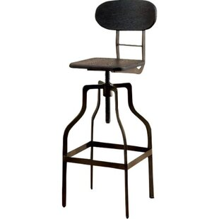 Tracie Swivel Solid Wood Adjustable Height Bar Stool by Williston Forge