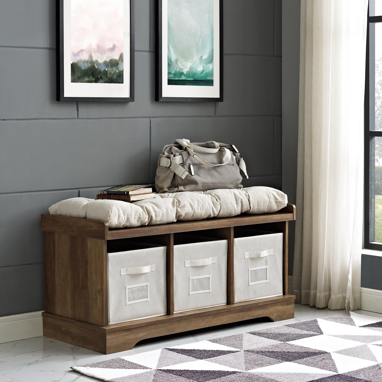 Gracie Oaks Bucyrus Cubby Storage Bench Reviews Wayfair
