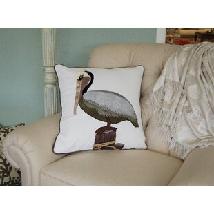 Menard Pelican Applique Cotton Throw Pillow