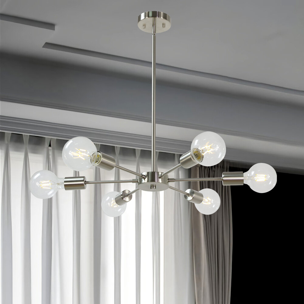 Corrigan Studio Lorin 6 Light Sputnik Modern Linear Chandelier Reviews Wayfair