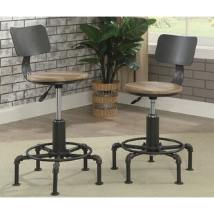 Gowan Industrial Lift Adjustable Height Swivel Bar Stool (Set of 2) Williston Forge