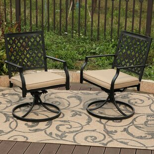 Stills Outdoor Metal Swivel Patio Dining Chair With Cushion (Set Of 2)