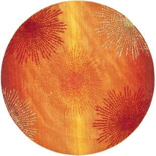 Chidi Handmade Wool Rust/Orange Area Rug by Ebern Designs