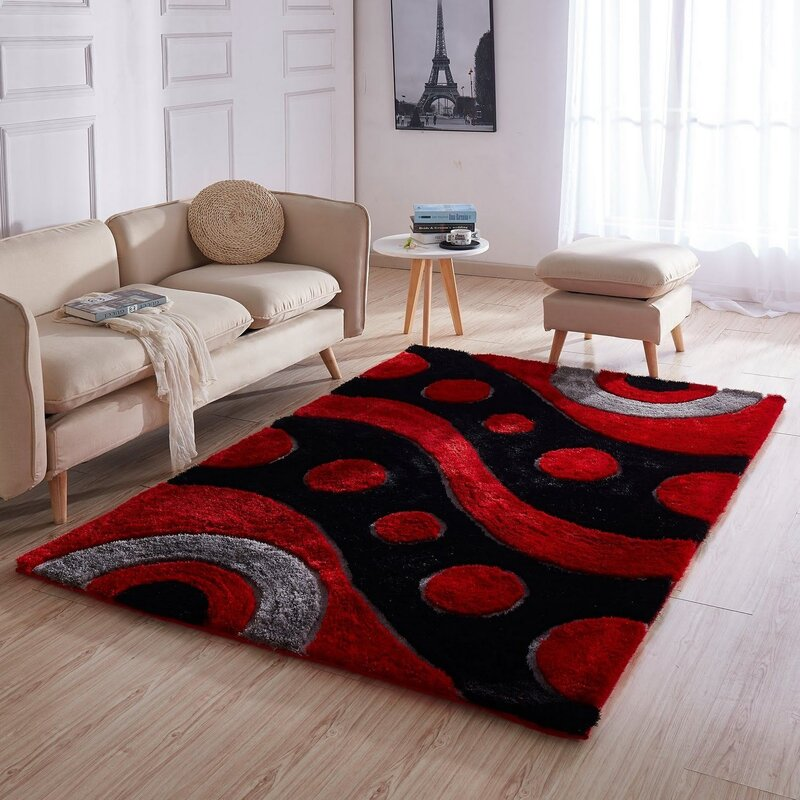 Latitude Run Eriberto 3d Shag Red Black Area Rug Wayfair