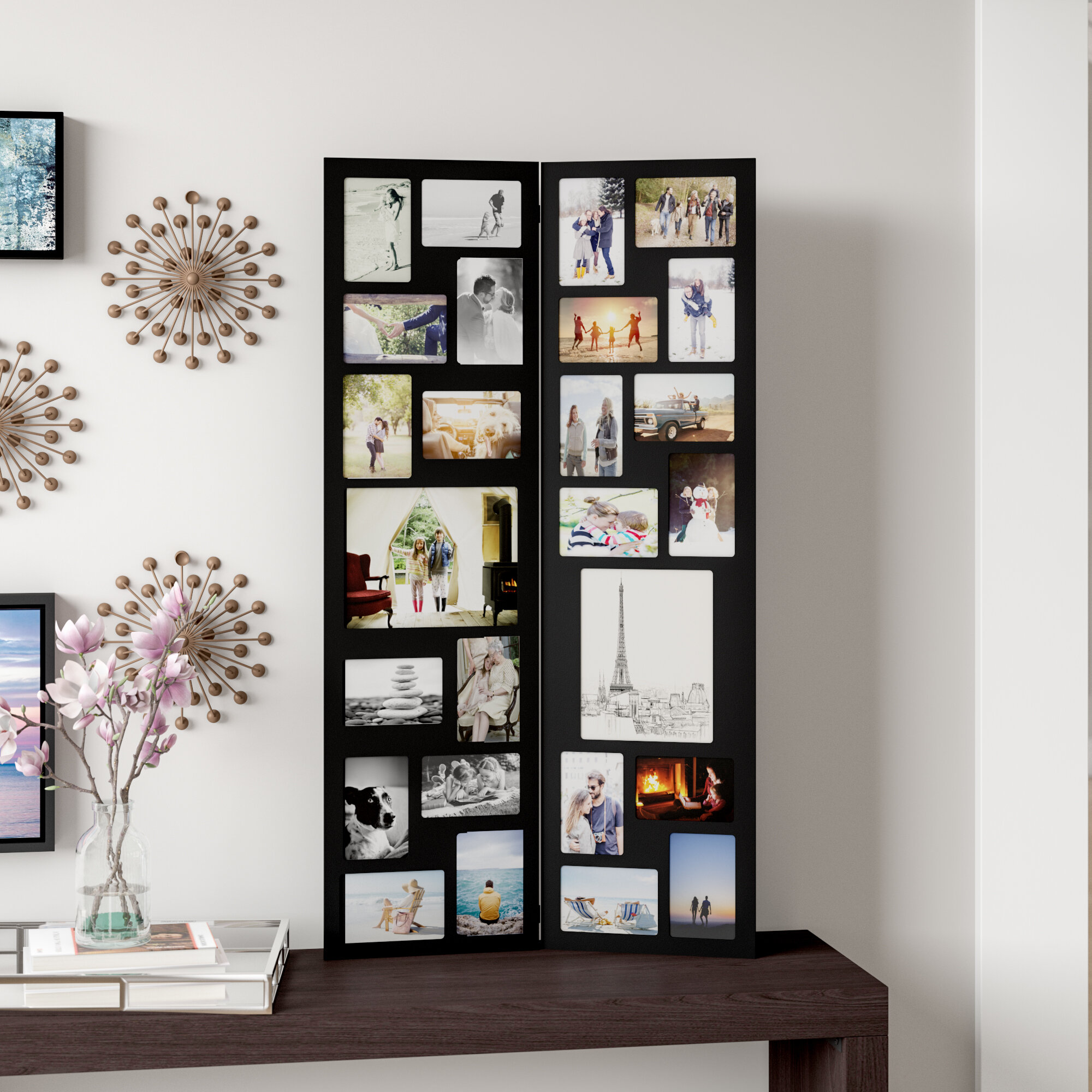Laude Run Pillar 26 Opening Decorative Wood Folding Floor Standing Photo Collage Picture Frame Reviews Wayfair