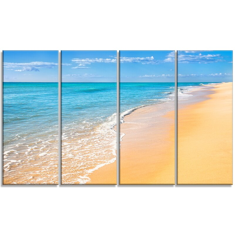 Designart Tropical Blue Sea And Sky 4 Piece Wall Art On Wrapped Canvas Set Wayfair