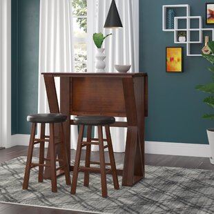 Brayan 3 Piece Drop Leaf Solid Wood Dining Set Latitude Run