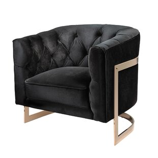 Ordinaire Botkin Frame Tufted Stainless Steel Barrel Chair