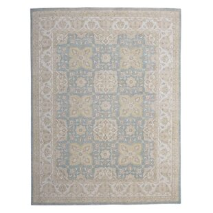 One-of-a-Kind Hand-Knotted Wool Blue/Beige Area Rug ByWildon Home ®
