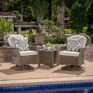 Middletown 3 Piece Rattan Conversation Set with Cushions