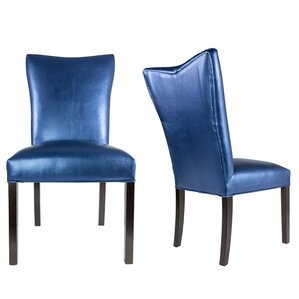 Hazlett Vinyl Upholstered Contemporary Parsons Chair (Set of 2) by Everly Quinn