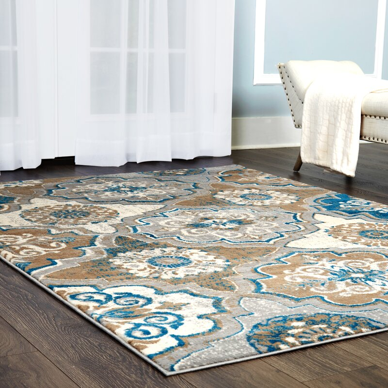 Albion Taupe/Bright Blue/Brown Area Rug
