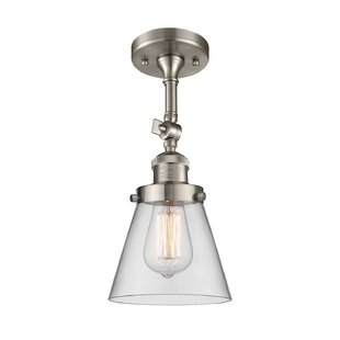 Milazzo Glass Cone 1-Light Semi Flush Mount by Williston Forge