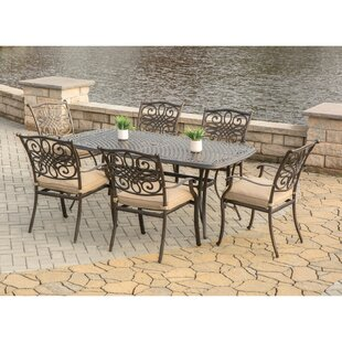 Three Posts Lauritsen 7 Piece Oil Rubbed Bronze Dining Set with Cushion