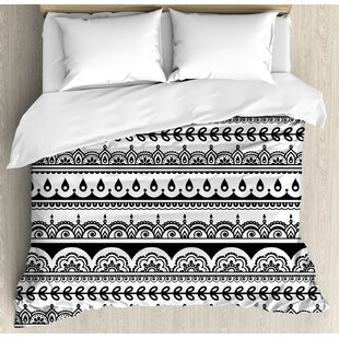 East Urban Home Tribal Ethnic Borders with Leaves Florals Flowers Ivy Swirls Indian Inspired Art Image Duvet Set