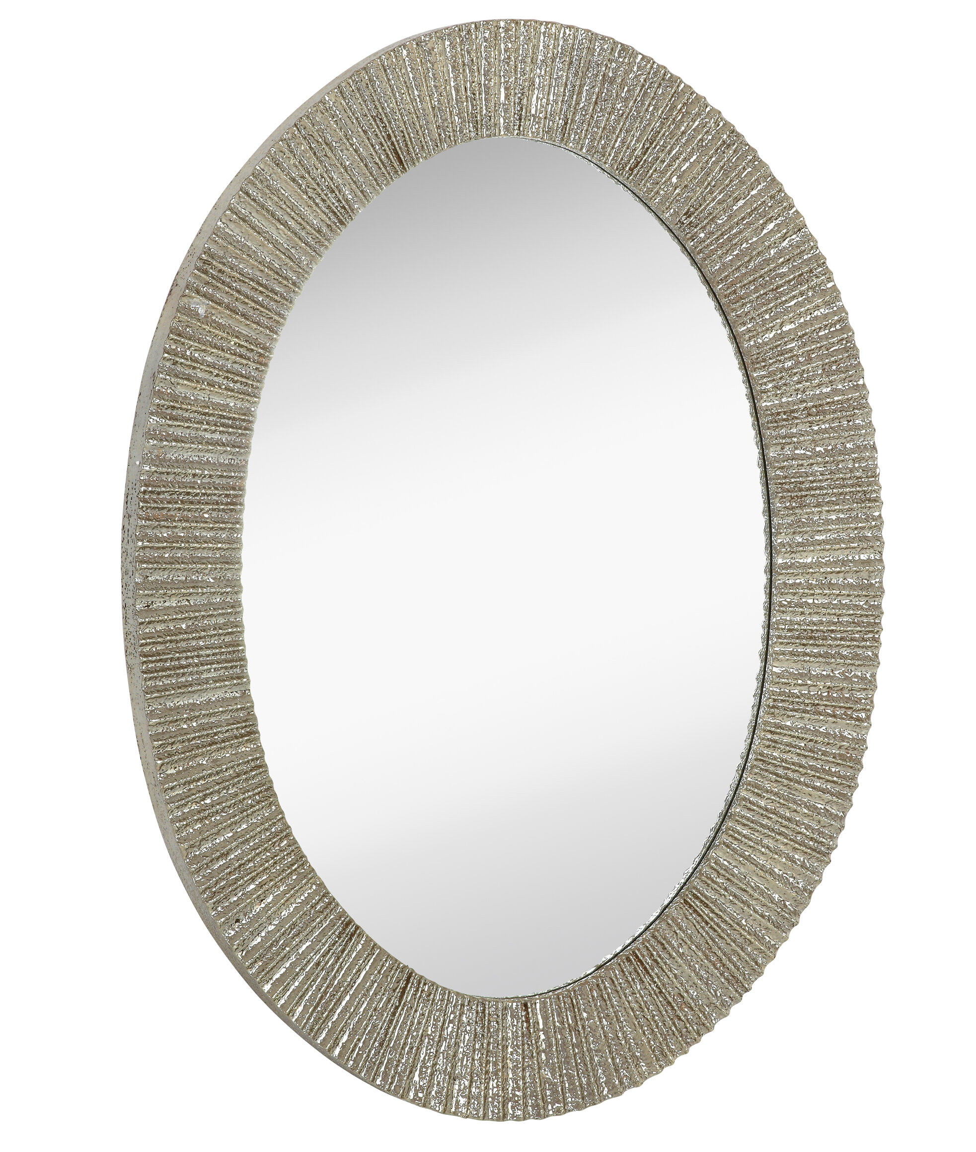 Majestic Mirror Contemporary Oval Shaped Shiny Polished Pewter ...