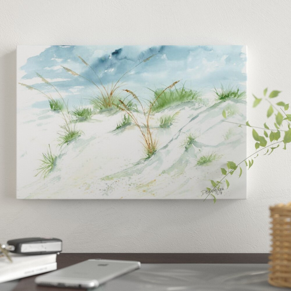 Sand Dunes Beach Painting by Derek Mccrea   Wrapped Canvas Gallery Wrapped  Canvas Giclée