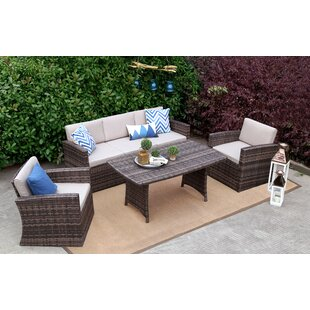 Jeremias 4 Piece Rattan Sofa Seating Group with Cushions