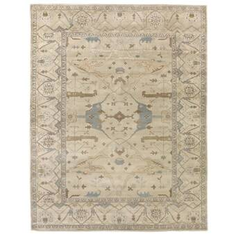 Tufenkian Donegal Branches Oriental Hand Knotted Wool Beige Black Area Rug Perigold