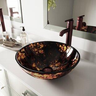 Affordable Fusion Glass Circular Vessel Bathroom Sink By VIGO