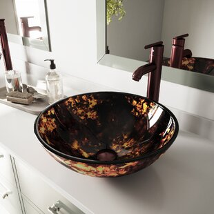 VIGO Brown and Gold Fusion Glass Circular Vessel Bathroom Sink with Faucet VIGO