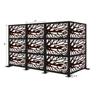 6.5 Ft. H X 12.5 Ft. W Freestanding Modular Metal Privacy Screen By E-Joy