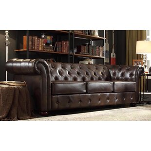 Vegard Chesterfield Faux Leather Sofa Willa Arlo Interiors