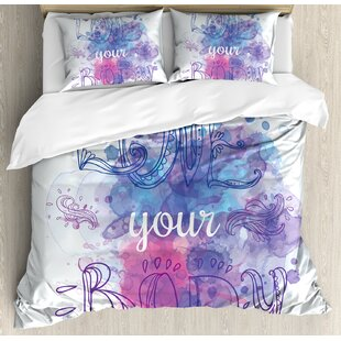East Urban Home Ethnic Indian Style Love Your Body Calligraphy Ornate Artistic Inspirational Duvet Set