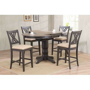 Double X- Back Upholstered Counter Height 5 Piece Pub Table Set
