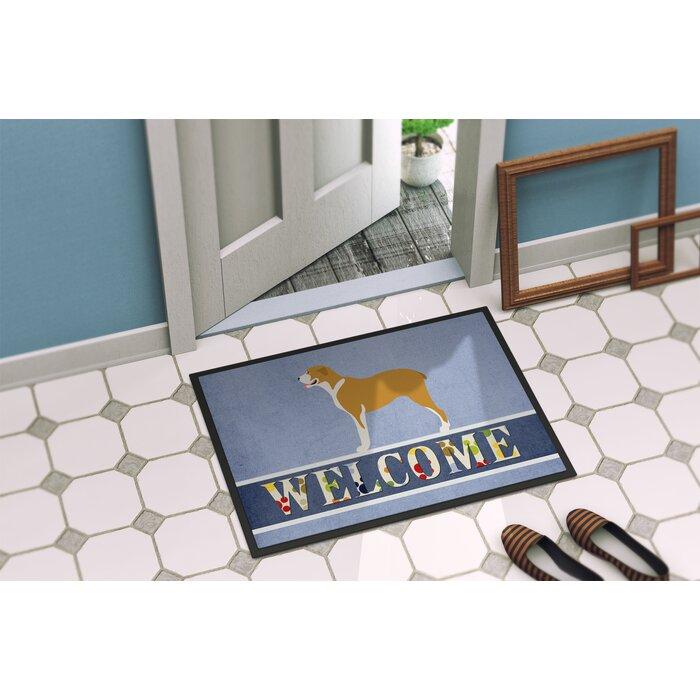 East Urban Home Belgium Mastiff Welcome 36 In X 24 In Non Slip Outdoor Door Mat Wayfair