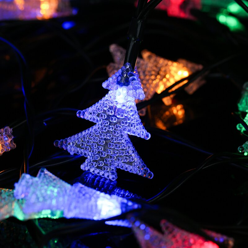 winsomehouse solar outdoor christmas tree led 20 light string