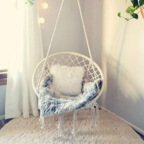 Mobel Hammock White Boho Bohemian Fringe Beige Hanging Chair Single Double Patio Mayan Garten Terrasse Elin Pens Ac Id