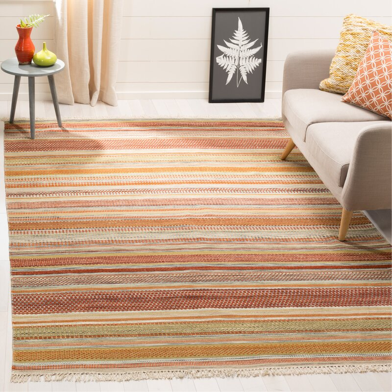 Striped Kilim Hand Woven Wool Brown Beige Area Rug