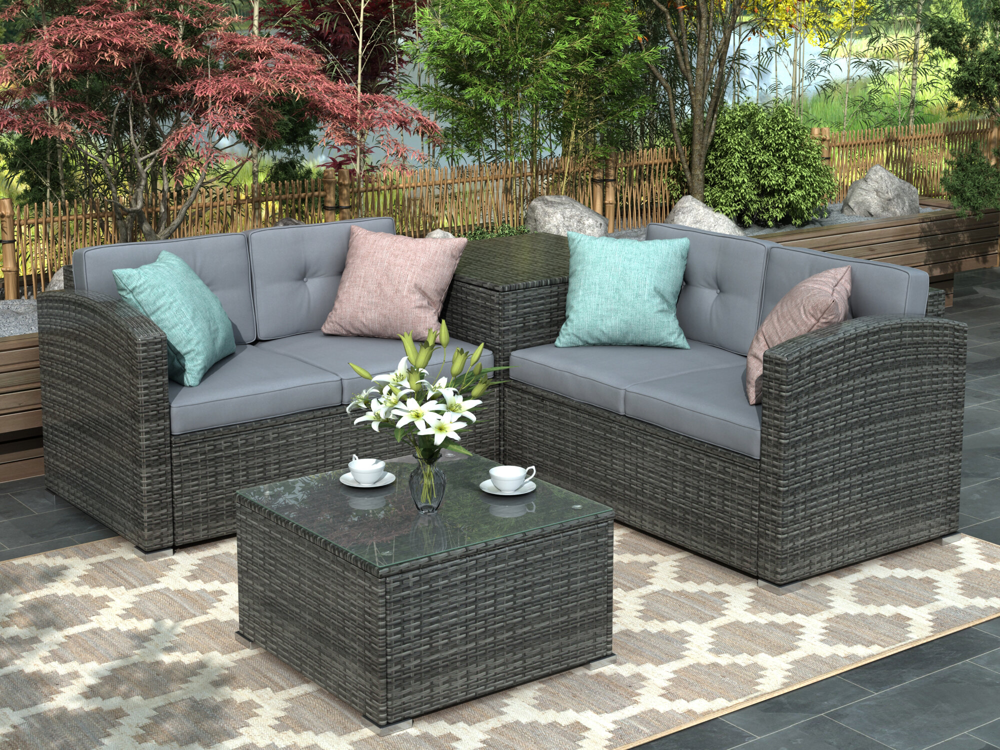 11 Pcs Outdoor Cushioned Pe Rattan Wicker Sectional Sofa Set Garden Patio  Furniture Set (grey Cushion)