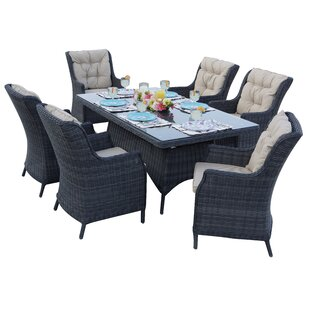 Audra 7 Piece Dining Set with Cuhions
