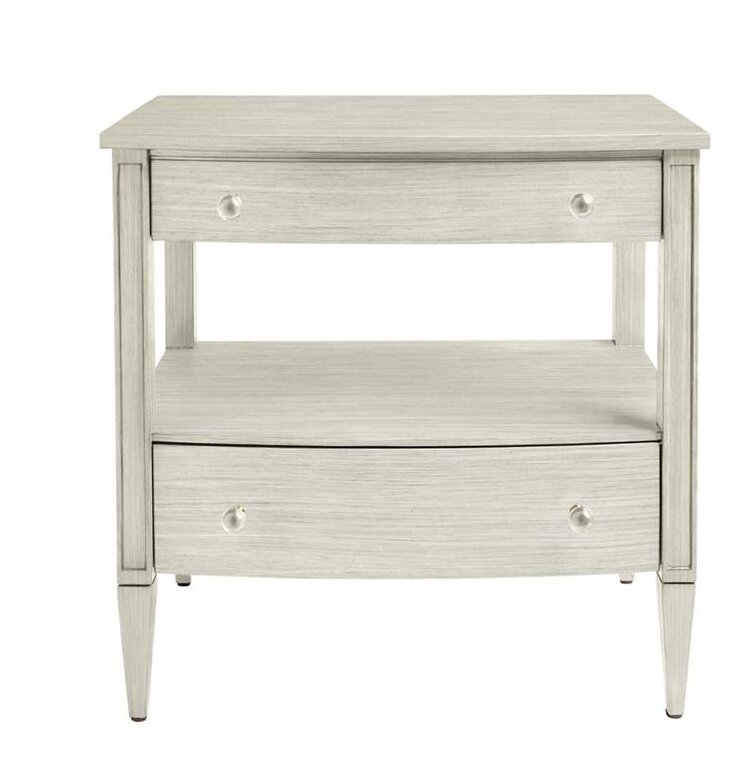Dimond Mulholland 2 Drawer Nightstand - Shop Drew's Honeymoon House {Guest Bedrooms} #whitenightstand #PropertyBrothers