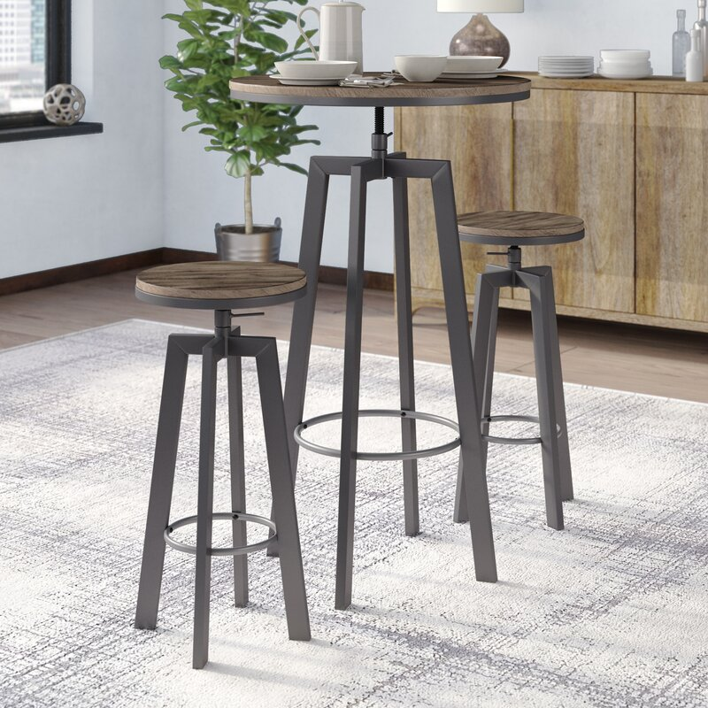 Ebern Designs Hoskins Round Wood Top Metal Bar Bistro 3 Piece Adjustable Pub Table Set Reviews Wayfair Ca