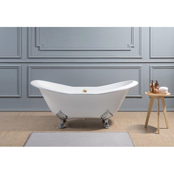 VINTAGE White Porcelain Roll Rim Cast Iron Clawfoot Bathtub *30in x 5ftno//ship