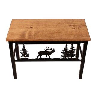 Millwood Pines Francesca Elk Scene Wood/Metal Bench