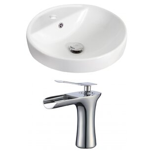 Affordable Ceramic Circular Drop-In Bathroom Sink with Faucet and Overflow ByRoyal Purple Bath Kitchen