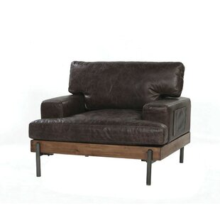 Toulouse Vintage Leather and Wood Armchair