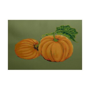 Pumpkin Patch Holiday Print Orange Indoor/Outdoor Area Rug