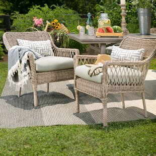 Paul Stacking Wicker Patio Dining Chair with Cushion (Set of 2)